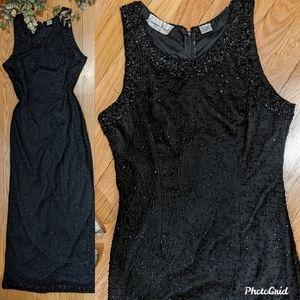 {Vintage} Black Beaded Silk Gown